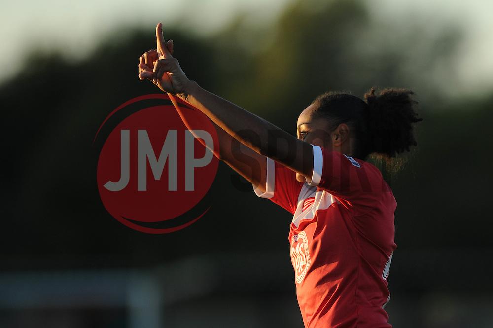Jade Boho Sayo of Bristol Academy celebrates - Mandatory byline: Dougie Allward/JMP - 07966386802 - 27/08/2015 - FOOTBALL - Stoke Gifford Stadium -Bristol,England - Bristol Academy Women FC v Oxford United Women - FA WSL Continental Tyres Cup