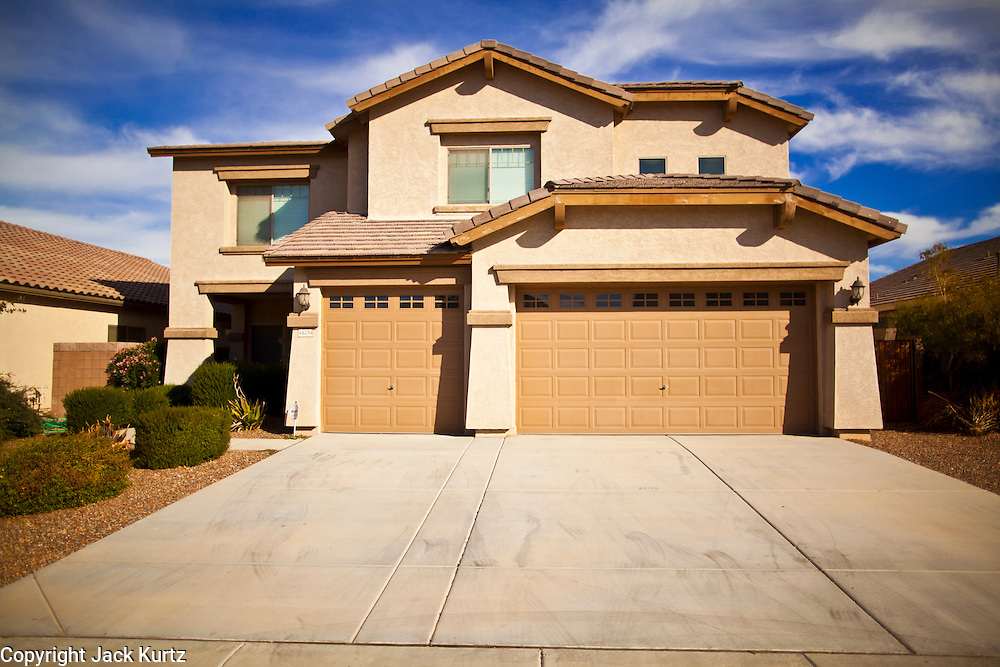 "26 DECEMBER 2010 - MARICOPA, AZ: BRISTOL PALIN, 20, bought this home in Maricopa, AZ, for $172,000. The former contestant on ""Dancing with the Stars"" and daughter of Sarah Palin, former governor of Alaska, former Republican Vice Presidential candidate, reality television star, best selling author and supporter of the Tea Party movement. Bristol Palin paid $172,000 cash for the two-level, 3,900-square-foot, brown stucco house with a tile roof, 2 1/2 baths, a three-car garage, landscaped front and back yards, and access to a community pool. Local media reported that the home was built in 2006, at the peak of the Arizona real estate boom, and was bought for a little under $330,000 at the time. According to paperwork filed with the Pinal County Recorder's Office, Palin closed on the home in early December, buying it from Michael and Cynthia Smith, North Dakota investors who bought the home when it was in foreclosure. The home is in the Cobblestone Farms development in Maricopa, about 40 miles from Phoenix. Maricopa was a small farming community until the late 1990's when land speculators starting buying up the farms and turning them into subdivisions. Growth in Maricopa boomed from 2002 until 2008 when the recession, foreclosure and banking crisis hit. Since then it has had one of the highest foreclosure rates in the United States. Now investors are starting to buy foreclosed homes in Maricopa, anticipating the end of the foreclosure crisis. Homes in Maricopa are now selling for about less than half of what they cost in 2006. Bristol Palin has not commented publicly on the purchase and has not said if the home is an investment or if she plans to live in it. PHOTO BY JACK KURTZ"