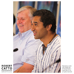 Producer Don Reynolds, and actor Cliff Curtis answer questions at the press conference before the premiere of the film River Queen in Wanganui, New Zealand.<br />
