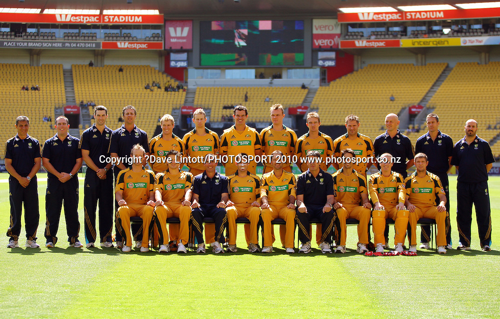 The Australian team pose for a team photo before the match.<br /> Fifth Chappell-Hadlee Trophy one-day international cricket match - New Zealand v Australia at Westpac Stadium, Wellington. Saturday, 13 March 2010. Photo: Dave Lintott/PHOTOSPORT