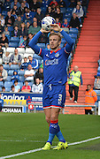 Joseph Mills keys up a throw in during the Sky Bet League 1 match between Oldham Athletic and Bradford City at Boundary Park, Oldham, England on 5 September 2015. Photo by Mark Pollitt.
