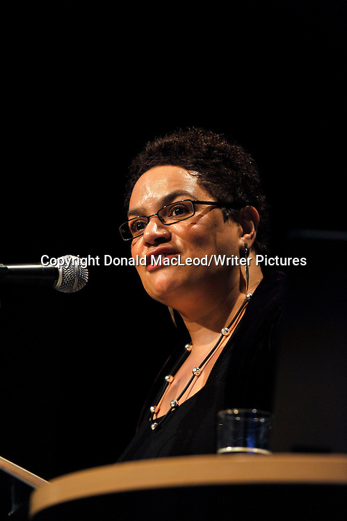 "Glasgow Aye Write! Festival - Scots born Jackie Kay who used her Aye Write! Authors Event to read from and discuss her recent memior ""Red Dust Road - in the Moir Hall at the Mitchell Theatre"