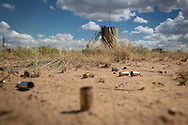 Shell cases near a gas industry site on federal land in the San Juan Basin in Northwestern New Mexico where fracking is booming.