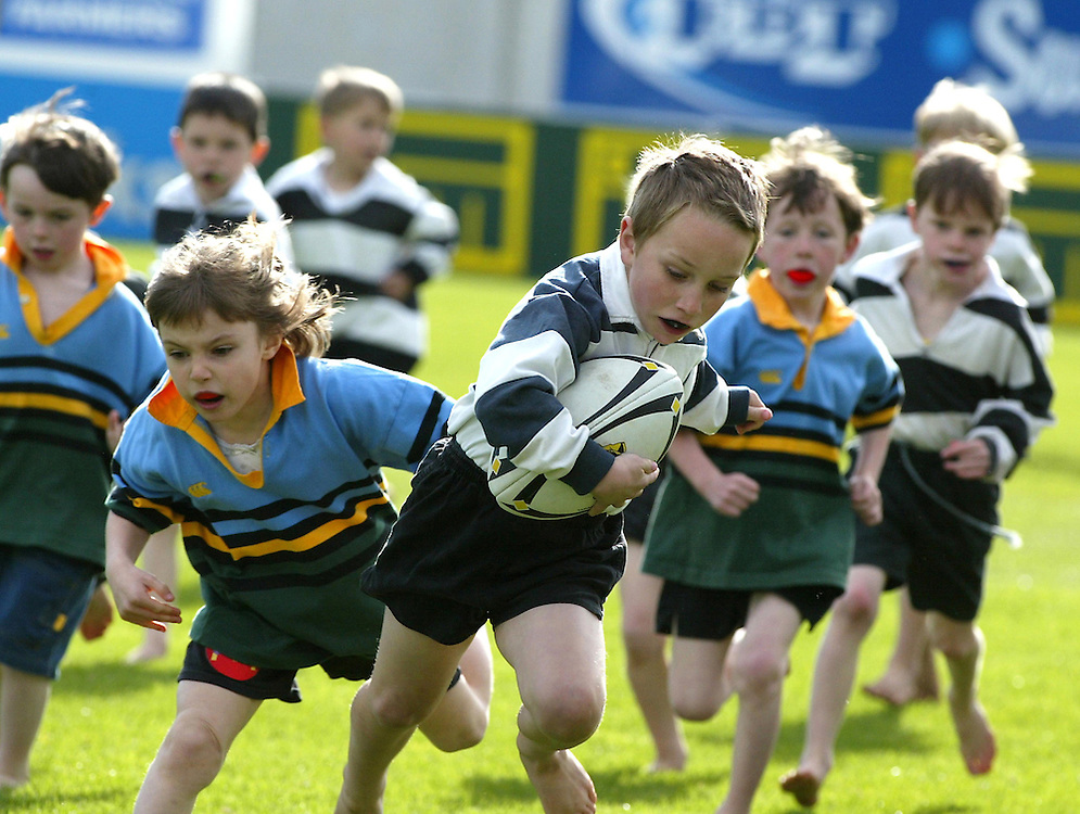 Primary school age boys playing rugby at Yarrow Stadium, New Plymouth, New Zealand, October 28, 2003. Credit:SNPA / Rob Tucker