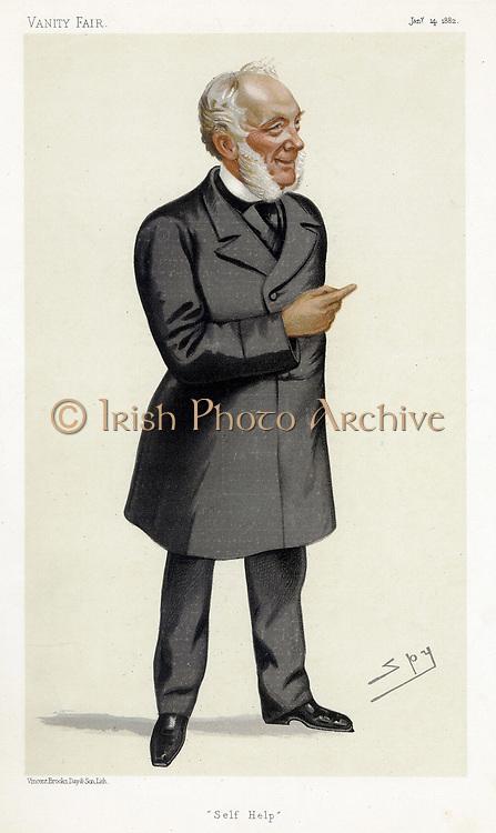 Samuel Smiles (1812-1904) Scottish writer, physician, surgeon and social reformer. Author of 'Self Help'. 'Spy' (Leslie Ward) cartoon from 'Vanity Fair', London, 14 January 1882