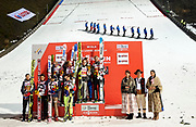 Poland, Wisla Malinka - 2017 November 18: General view of awarding ceremony during FIS Ski Jumping World Cup Wisla 2017/2018 - Day 2 at jumping hill of Adam Malysz on November 18, 2017 in Wisla Malinka, Poland.<br /> <br /> Mandatory credit:<br /> Photo by &copy; Adam Nurkiewicz<br /> <br /> Adam Nurkiewicz declares that he has no rights to the image of people at the photographs of his authorship.<br /> <br /> Picture also available in RAW (NEF) or TIFF format on special request.<br /> <br /> Any editorial, commercial or promotional use requires written permission from the author of image.