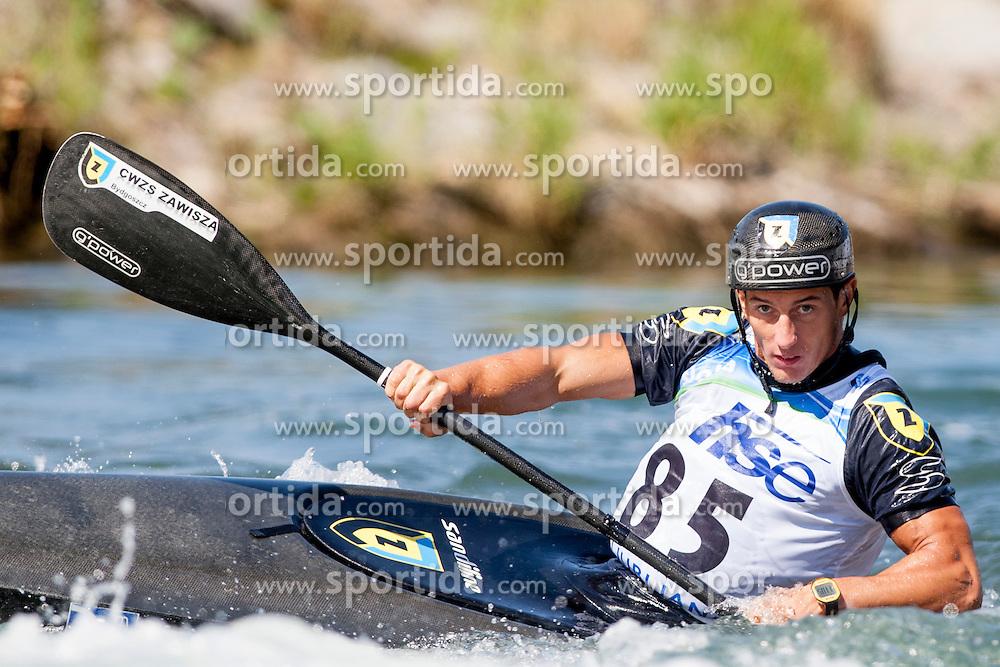 Mateusz Polaczyk of Poland during Kayak(K1) Man semi-final race at ICF Canoe Slalom World Cup Sloka 2013, on August 17, 2013, in Tacen, Ljubljana, Slovenia. (Photo by Urban Urbanc / Sportida.com)
