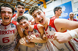 Aksu Berkan of Turkey , Kurtuldum Mustafa of Turkey , Sengun Alperen of Turkey  celebrate after winning during basketball match between National teams of Turkey and Slovenia in the SemiFinal of FIBA U18 European Championship 2019, on August 3, 2019 in Nea Ionia Hall, Volos, Greece. Photo by Vid Ponikvar / Sportida