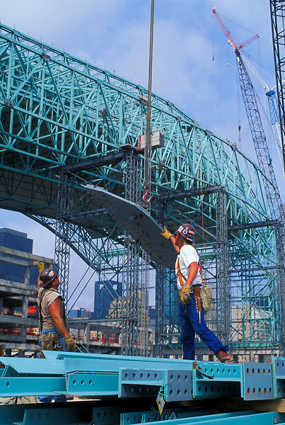 Stock photo of the construction site of Houston's Minute Maid Park in downtown Houston Texas