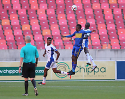 Sibusiso Masina of Cape Town City and Xolani Mdaki of Chippa United vye for the header during the 2016 Premier Soccer League match between Chippa United and Cape Town City held at the Nelson Mandela Bay Stadium in Port Elizabeth, South Africa on the 19th November  2016.<br /> <br /> Photo by:   Richard Huggard / Real Time Images
