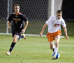 Virginia Cavaliers forward Brian Ownby (27) dribbles up field.  The Virginia Cavaliers fell to the Maryland Terrapins 2-1 in NCAA Soccer at Klockner Stadium on the Grounds of the University of Virginia in Charlottesville, VA on October 31, 2008.