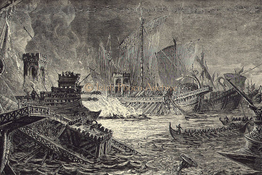 The Battle of Salamis fought between an Alliance of Greek city-states and the Achaemenid Empire of Persia in September 480 BC in the straits between the mainland and Salamis, an island in the Saronic Gulf near Athens. It marked the high-point of the second Persian invasion of Greece which had begun in 480 BC.
