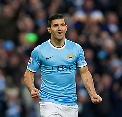 MANCHESTER, ENGLAND - Sunday, November 24, 2013: Manchester City's Sergio Aguero celebrates scoring the fourth goal against Tottenham Hotspur during the Premiership match at the City of Manchester Stadium. (Pic by David Rawcliffe/Propaganda)