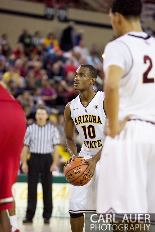 November 27th, 2010:  Anchorage, Alaska - Arizona State's Jamelle McMillan (10) at the free throw line in the Sun Devil's 58-67 loss to St. John's in the championship game of the Great Alaska Shootout.  McMillan is the son of former NBA Seattle Super Sonics player and current Portland Trailblazer's coach Nate McMillan.