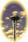 Image of the Space Needle vignette in Seattle, Washington, Pacific Northwest  (digital photo-illustration)