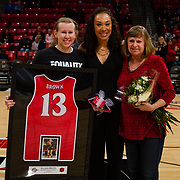 24 February 2018: The San Diego State women's basketball team closes out it's home schedule of the regular season Saturday afternoon against San Jose State. San Diego State Aztecs guard Allison Brown (13) seen her in a senior ceremony prior to taking on San Jose State. At halftime the Aztecs lead the Spartans 36-33 at Viejas Arena.<br /> More game action at sdsuaztecphotos.com