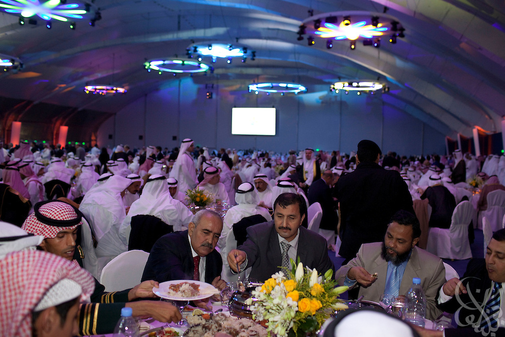 3,000 invited guests enjoy a lavish dinner during the King Abdullah University of Science and Technology (KAUST) Inauguration Ceremony September 23, 2009 in Thuwal, Saudi Arabia (about 80 Kilometers north of Jeddah.) The University will act as a living laboratory by demonstrating that environmentally responsible methods of energy use, materials management, and water consumption are viable in the Middle East and across the globe. (Photo by Scott Nelson).