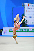 "Bevilacqua Sofia during ball routine at the International Tournament of rhythmic gymnastics ""Città di Pesaro"", 02 April, 2016. Sofia is an Italian individualistic gymnast, born on March 02, 2002 in Fano.<br />