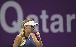 DOHA, Feb. 18, 2018  Caroline Wozniaki of Denmark reacts during the single's semifinal match against Petra Kvitova of the Czech Republic at the 2018 WTA Qatar Open in Doha, Qatar, on Feb. 17, 2018. Petra Kvitova won 2-1. (Credit Image: © Nikku/Xinhua via ZUMA Wire)