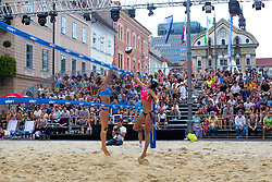 Pauline Alves of Brasil and Tereza Jarosova Czech Republic at Beach Volleyball Challenge Ljubljana 2014, on August 2, 2014 in Kongresni trg, Ljubljana, Slovenia. Photo by Matic Klansek Velej / Sportida.com