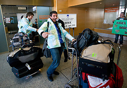 Filip Flisar and his coach Primoz Vrhovnik at arrival to Airport Joze Pucnik from Vancouver after Winter Olympic games 2010, on February 25, 2010 in Brnik, Slovenia. (Photo by Vid Ponikvar / Sportida)