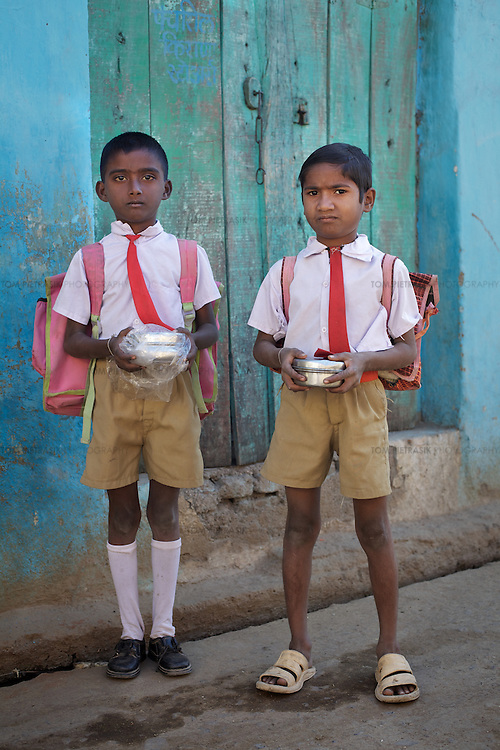 Boys on their way to school in Adgaon Budruk village...Photo: Tom Pietrasik.January 2011.Maharashtra, India