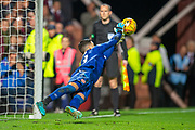 Joel Pereira (#23) of Heart of Midlothian FC saves the third penalty during the penalty shoot out at the end of Betfred Scottish Football League Cup quarter final match between Heart of Midlothian FC and Aberdeen FC at Tynecastle Stadium, Edinburgh, Scotland on 25 September 2019.