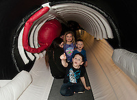 "Blue Ocean Society for Marine Conservation visits Leavitt Park Clubhouse with ""Ladder"" a 65 foot inflatable Fin whale. Karen Bobotas for the Laconia Daily Sun"