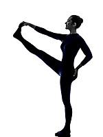woman exercising Hasta Padangusthasana hand to big toe pose yoga silhouette shadow white background