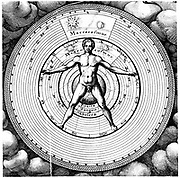 Relation of man, the microcosm, with the universe, the macrocosm, showing spheres of Sun, Moon and planets, the temperaments and hierarchy of supernatural beings. From Robert Fludd 'Utriusque Cosmi .. Historia', Oppenheim, 1617-1619. Copperplate engraving