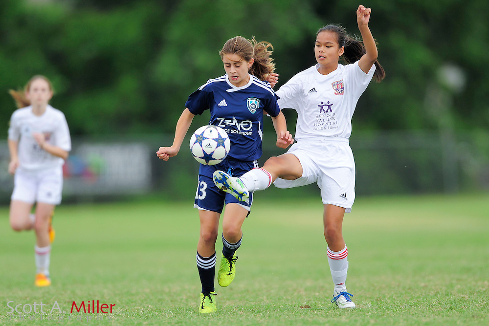 VSI U13 girls vs. OCYS in CDL at Seminole Soccer Complex in Sanford, Florida April 20, 2013. .©2013 Scott A. Miller