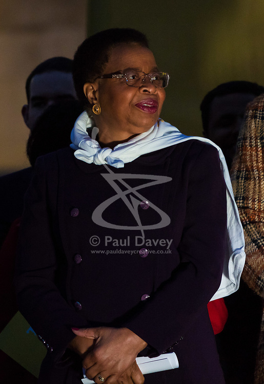 "London, October 23 2017. Nelson Mandela's group of Elders including former UN Secretary General Kofi Annan and Secretary General Ban Ki-moon accompanied by his widow Graca Machel gather at Parliament Square at the start of the Walk Together event in memory of Nelson Mandela before a candlelight vigil at his statue in Parliament Square. ""WalkTogether is a global campaign to inspire hope and compassion, celebrating communities working for the freedoms that unite us"". PICTURED: Mandela's widow Graca Machel. © Paul Davey"