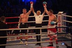 Denis Simcic and Josef Obeslo, during the WBO-European Champion Title, on October 17, 2014 in Arena Tabor, Maribor, Slovenia. Photo by Gregor Krajncic / Sportida.com
