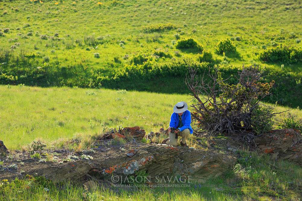 Photographer on the Rocky Mountain Front, Montana.