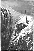 Linnaeus (Carl von Linne -1707-1778). Swedish scientist and naturalist nearly losing his life falling into a crevasse. Engraving published Paris 1874