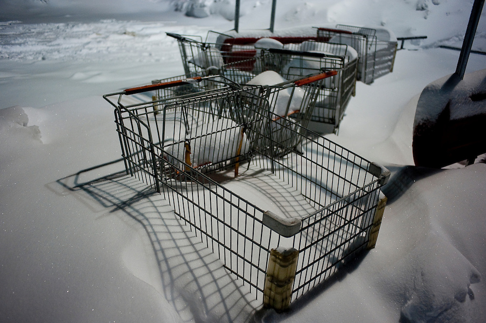 Shopping carts are snowbound in a supermarket parking lot in Hendon, Va. following what people we calling an epic snow in Northern Virginia and D.C. Metro area.