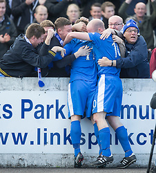Montrose Scott Johnston celebrates after scoring their goal. Half time : Montrose 1 v 0 Brora Rangers, Scottish League Two play-off second leg, today at Links Park, Montrose.