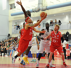 Bristol Flyers' Greg Streete dives towards the basket with the ball in his hand - Photo mandatory by-line: Dougie Allward/JMP - Mobile: 07966 386802 - 28/03/2015 - SPORT - Basketball - Bristol - SGS Wise Campus - Bristol Flyers v London Lions - British Basketball League