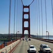 Driving on the Golden Gate Bridge. San Francisco, CA. USA.