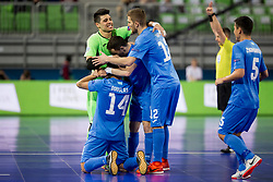 Players of Kazakhstan celebrate goal during futsal match between National teams of Kazakhstan and Russia at Day 5 of UEFA Futsal EURO 2018, on February 3, 2018 in Arena Stozice, Ljubljana, Slovenia. Photo by Urban Urbanc / Sportida