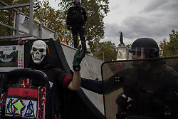 September 15, 2016 - Paris, France - A man dressed as skull protests against Labro reform law in Paris on September 15, 2016 . Parisians took out the streets this Thursday to make a new demonstration over the so controversial Labor Law reform in France. Thousands gathered at Place de la Bastille for a peaceful walk to Place de la République, but as is usual, an anarchist group clashed in a confrontation with police that lasted all the way. (Credit Image: © David Cordova/NurPhoto via ZUMA Press)