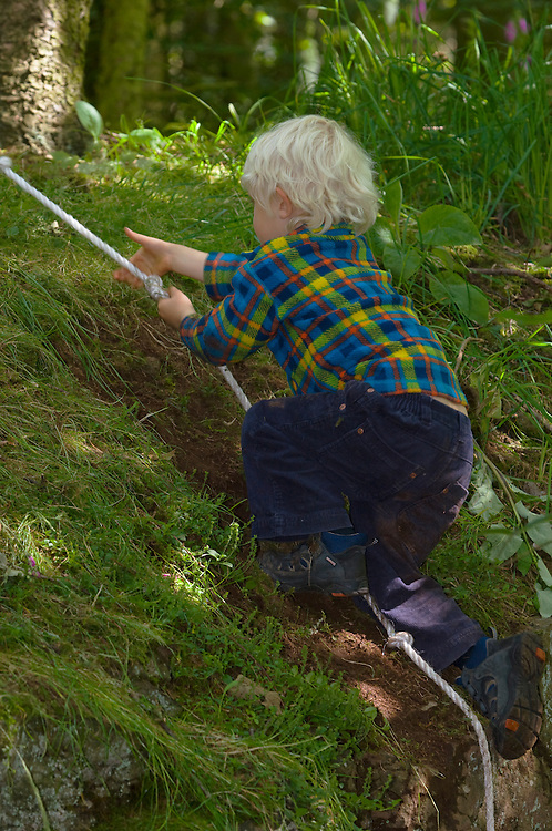 Young boy using a rope to climb a woodland bank