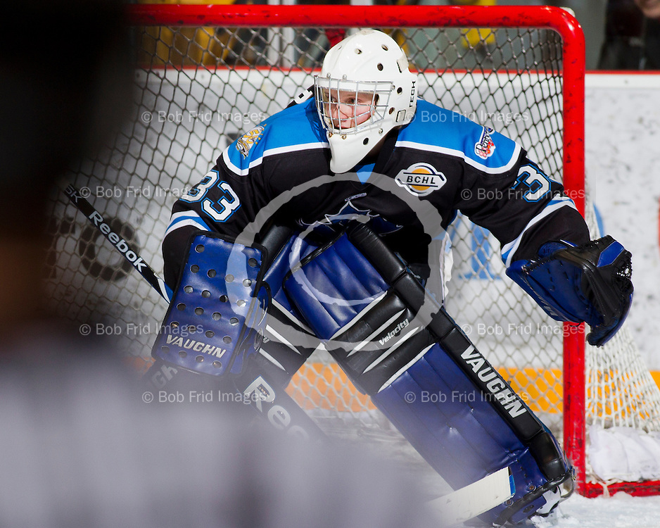 20 March 2012:  goalie Chad Katunar (33) of the Vees  during a playoff game between the Chilliwack Chiefs and the Penticton Vees. Game #4 of best of 7. Final Score: Chilliwack 3 Penticton 1 - the  Best of 7 series is now tied at 2-2.  Prospera Centre, Chilliwack, BC.  ****(Photo by Bob Frid/Freemotionphotography.ca) All Rights Reserved : cell 778-834-2455 : email: bob.frid@shaw.ca ****