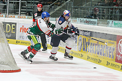 20.02.2015, Curt-Frenzel-Stadion, Augsburg, GER, DEL, Augsburger Panther vs EHC Red Bull München, 49. Runde, im Bild l-r: im Zweikampf, Aktion, mit Brady Lamb #2 (Augsburger Panther) und Toni Ritter #15 (EHC Red Bull Muenchen) // during Germans DEL Icehockey League 49th round match between Adler Mannheim and Grizzly Adams Wolfsburg at the Curt-Frenzel-Stadion in Augsburg, Germany on 2015/02/20. EXPA Pictures © 2015, PhotoCredit: EXPA/ Eibner-Pressefoto/ Kolbert<br /> <br /> *****ATTENTION - OUT of GER*****