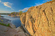 Rock. The flow of water narrows between Lovesick Lake and Lower Buckhorn Lake on the west and Stoney Lake to the east creating Burleigh Falls. Kawartha Lakes. <br />Burleigh Falls<br />Ontario<br />Canada