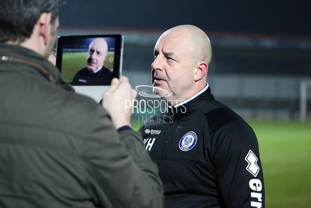 Rochdale FC Manager Keith Hill faces the media following his sides 2-1 win in during the EFL Sky Bet League 1 match between Rochdale and Shrewsbury Town at Spotland, Rochdale, England on 30 December 2016. Photo by Simon Brady.