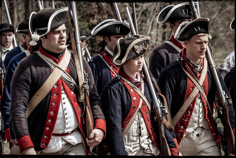 Continental Regulars march on to the field at the 2017 Battle of Guilford Courthouse Reenactment.