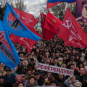 Ethnic Russians gather in Odessa to demonstrate support for the Crimean status referendum.