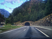 ROAD TRIP: Photographers Georgie Gillard and Rick Findler drove 1,973 miles and through nine countries for a friends wedding in Lake Garda, Northern Italy. Armed only with an iPhone and pushed for time, they decided to document their journey through the windscreen of their car.<br /> Pictured: Aire de Passy, Mont-Blanc, France.