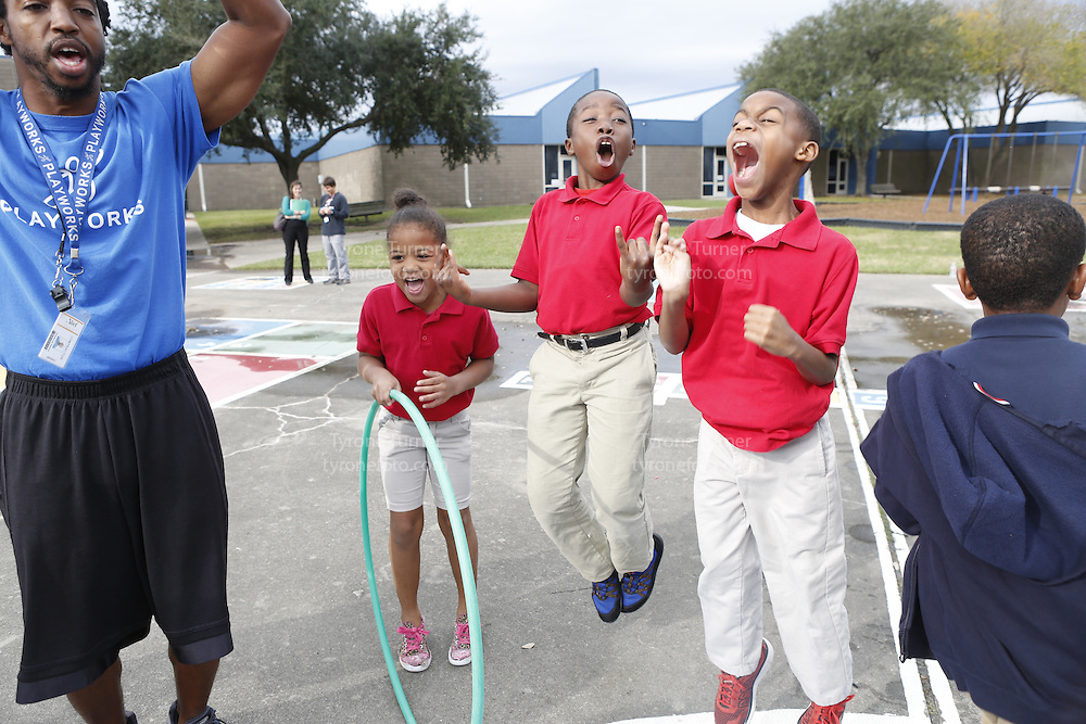Playworks<br /> <br /> <br /> Cummings Elementary School<br /> 10455 S Kirkwood Rd, Houston, TX 77099<br /> <br /> <br /> Teacher is Ms. Irby, 2nd grade  class game time<br /> <br /> Only one student released for RWJF     IMG_1164.JPG